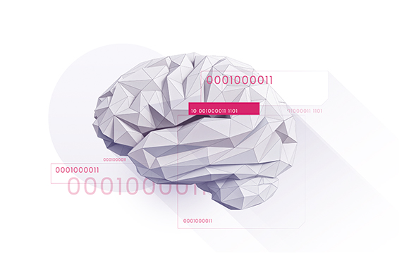 Brain with binary code