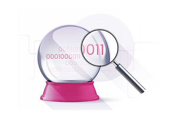 Binary code in crystal ball with magnifying glass