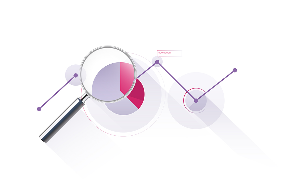 Magnifying glass with pie charts and data trends
