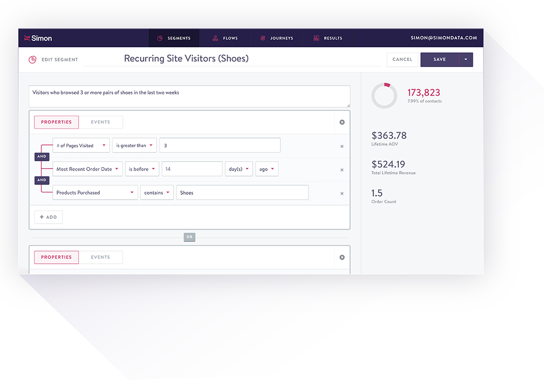 Dashboard for creating a customer segement in Simon