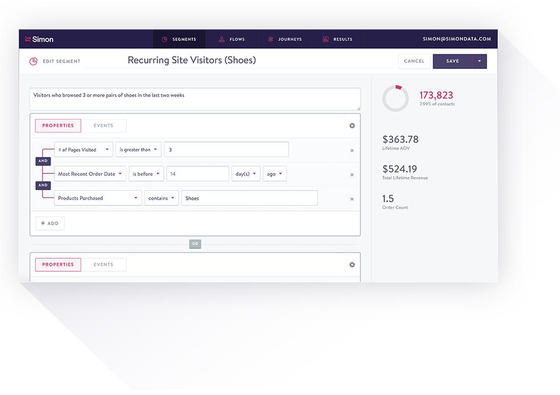 Dashboard for creating a customer segment in Simon